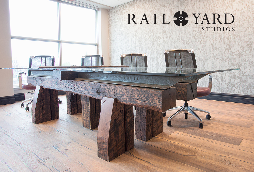 Streamliner Conference table - Our most popular.. REal Rail, New hardwood Timbers, Inset panel with options for Power, USB, Ethernet connections)