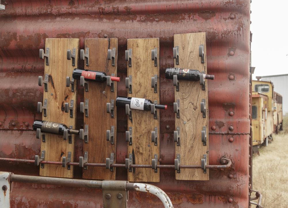 Custom Luxury Wine Rack Storage Boxcar Red Weathered