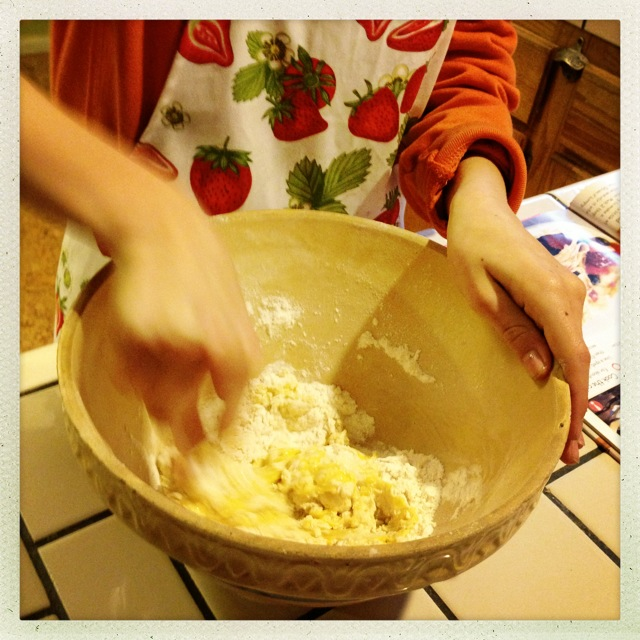 Eggs, flour, melted butter, and a little salt and baking power.  The stuff memories are made of.