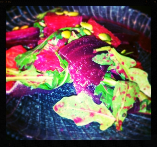 Beet Orange & Arugula Salad as prepared by Chef Dave Schy at Cooking With Class