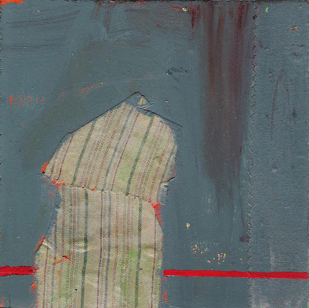 """Squares #49"" 2011 acrylic + fabric on wood.8"" x 8"""