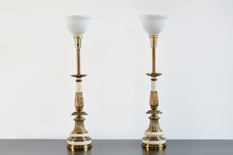 Set of hollywood regency brass stiffel lamps