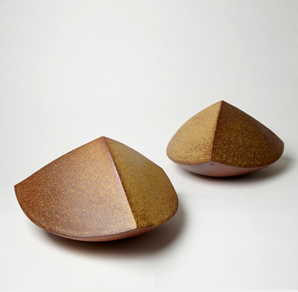 """""""Metamorphosis 1 + 2,"""" by Amanda Gentry, 2015, salt glazed stoneware from soda + wood fire, 7"""" h x 12"""" w x 12"""" d"""