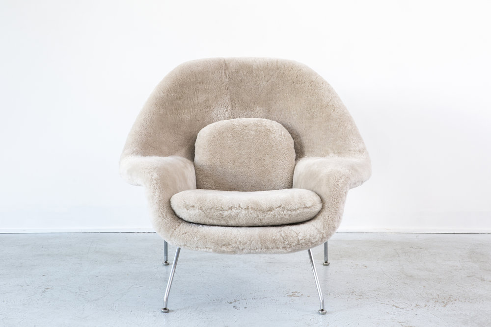 womb chair in shearling