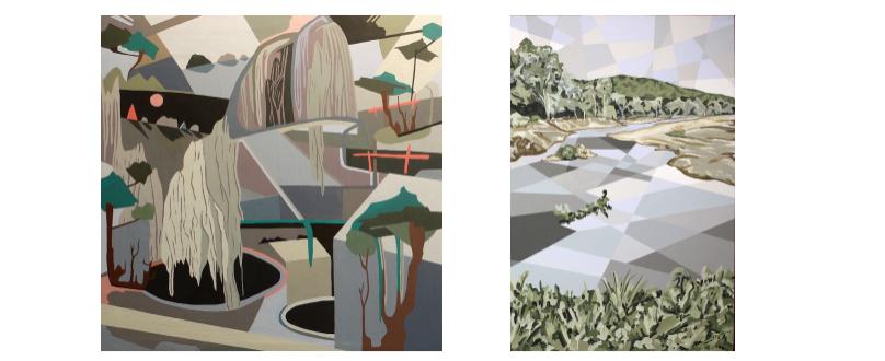 """Left:Hannah Perry Saucier, """"Untitled,"""" 2016, acrylic + oil on canvas (framed) Right:Hannah Perry Saucier, """"Current of Niangua,"""" 2015, acrylic on canvas (framed)"""