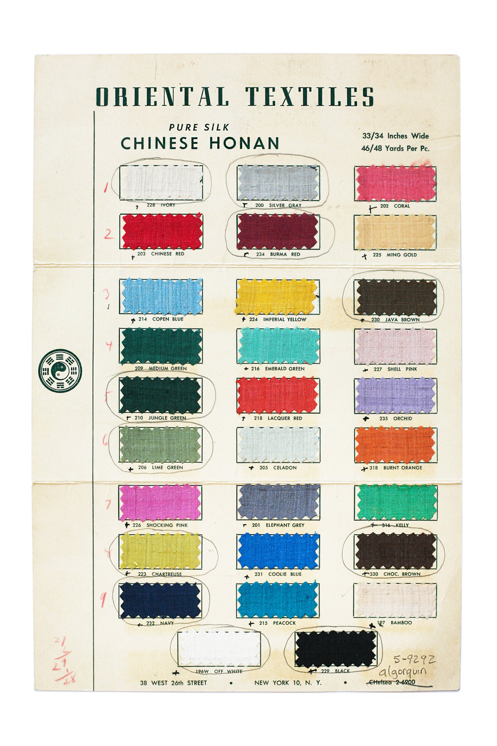 Mies used these textile samples when designing the interiors of the Arts Club of Chicago in the early 1950s.