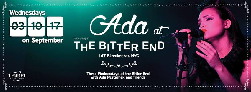 Where: The Bitter End, 147 Bleecker St., NYC When: Wednesday, September 17th at 9pm