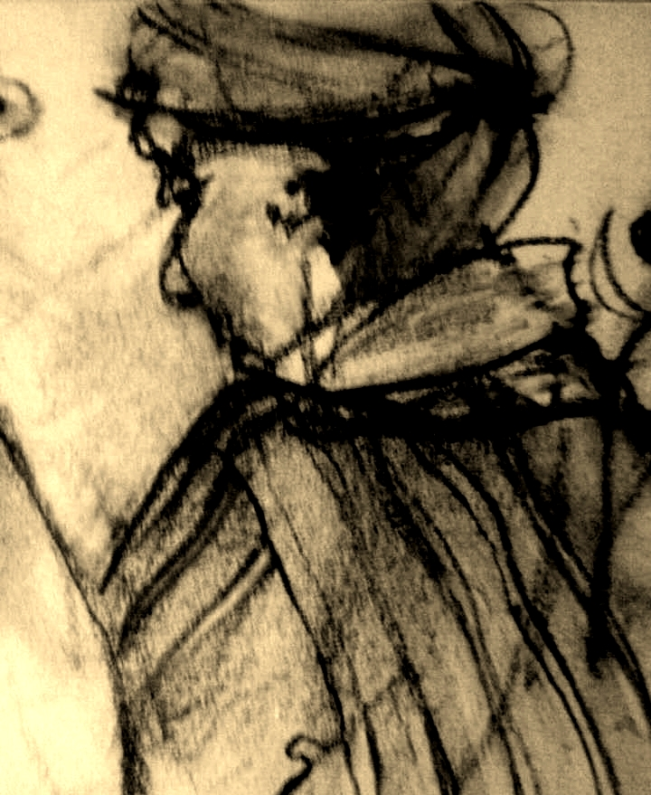 "Vicky Argenta, charcoal, 24"" x 36"", detail"