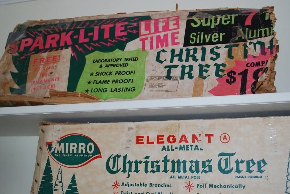 I was most interested in this printed packaging display at the Aluminum Tree & Aesthetically Challenged Seasonal Ornament Museum and Research Center © 2013 Kristen Necessary