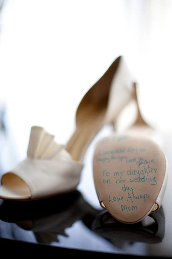 blue writing wedding shoes