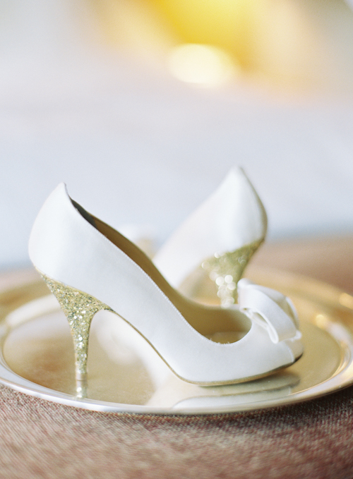 white gold glitter shoe bride kate spade