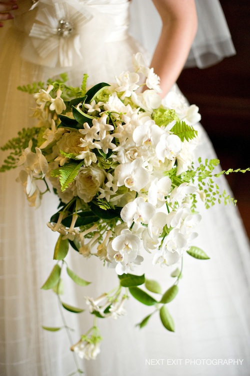 green white cascade bouquet