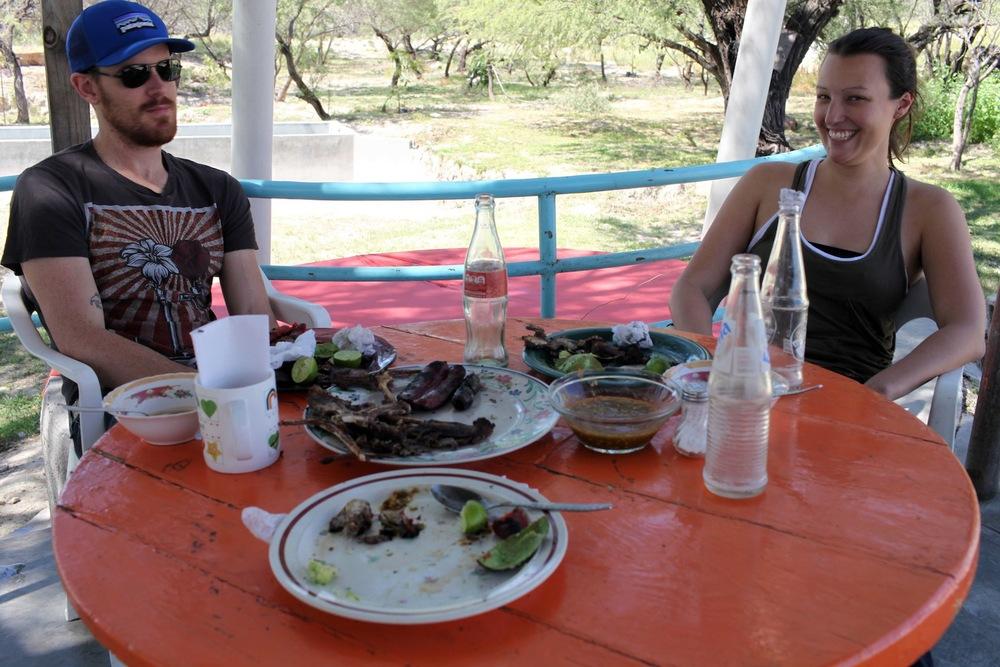 Enjoying our hardy roadside meal