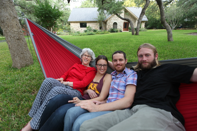 Hangin' in our Pares Hammock with Ellen and waiting for the FedEx man