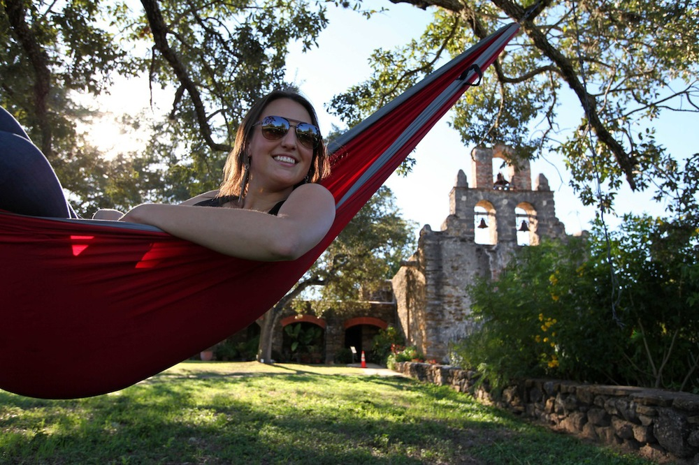 Hangin' out in her Pares in front of a historic mission. Not a bad detour in the trip!