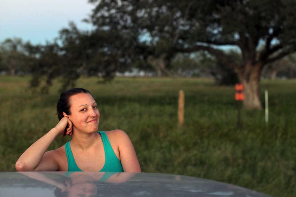 Amanda striking a pose during a fresh air break in Texas