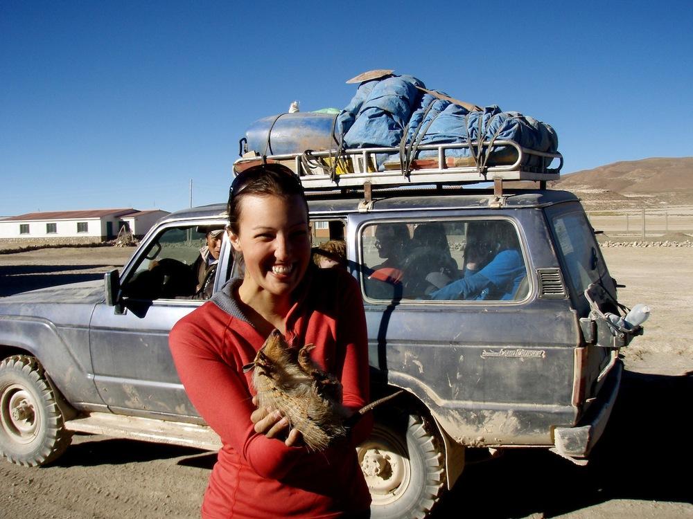 Holding an armadillo in Uyuni Bolivia