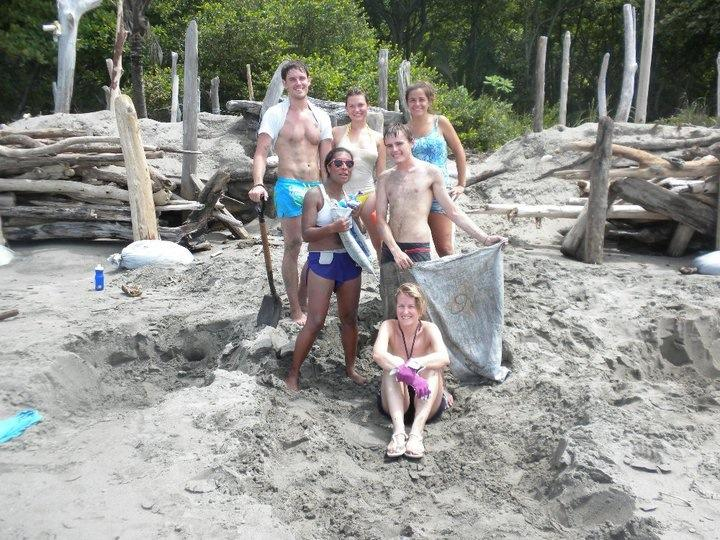 Constructing a hatchery for sea turtle eggs with a group of international volunteers in Costa Rica