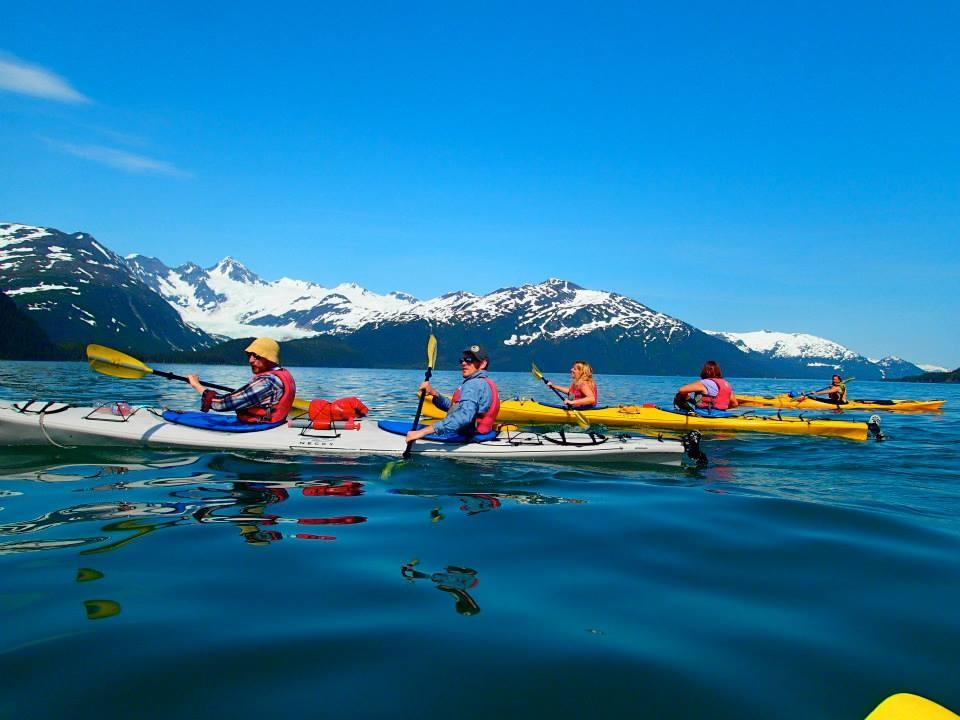 Kayaking across Prince William Sound, a gorgeous fjord in Whittier, Alaska