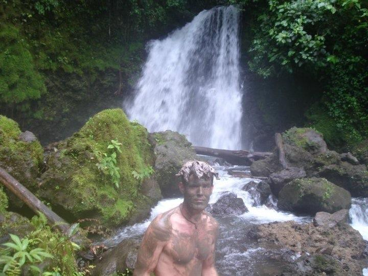 Taking a volcanic ash bath in Volcan Arenal