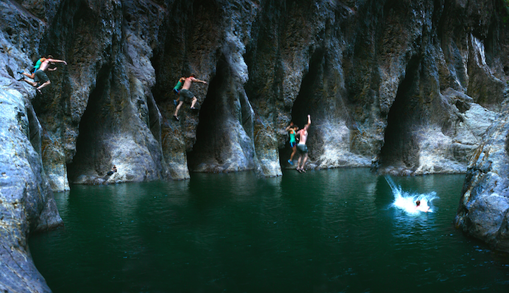 Juli and Richard Jumping the cliff!