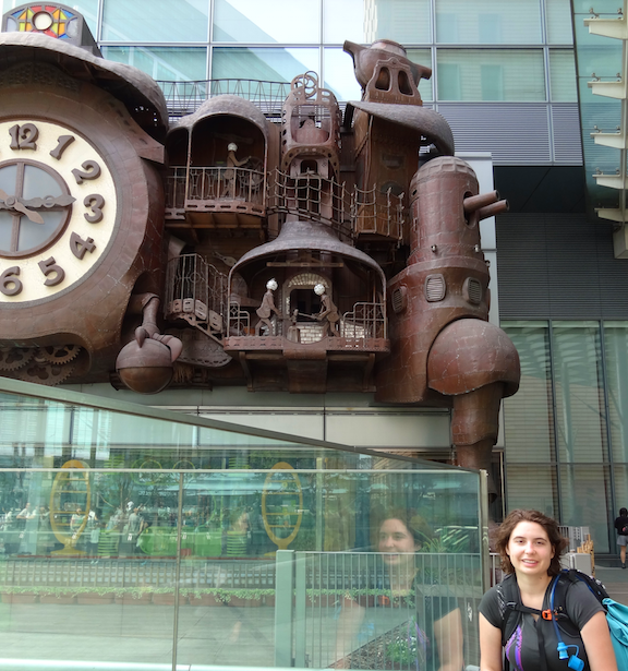 Ashlynn with an impressive clock in Tokoyo