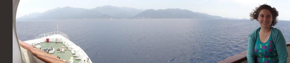 Ash on Boat with Yakushima Island behind her