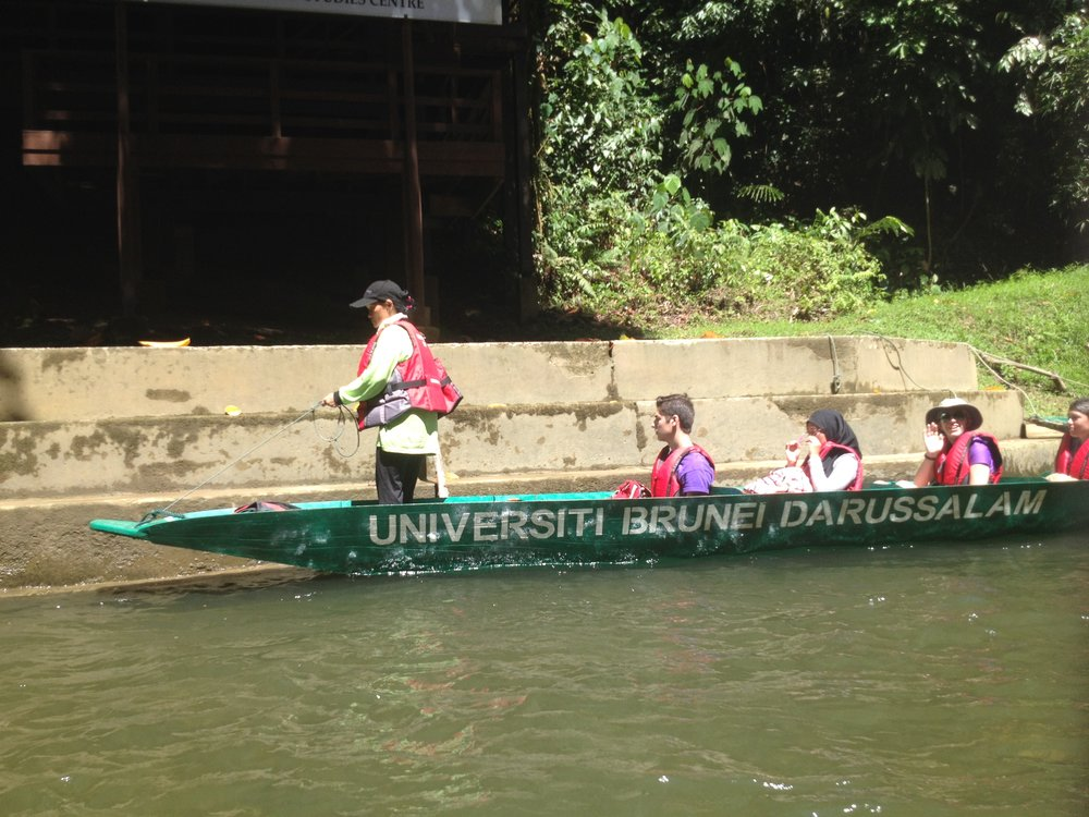 Traditional long boats ferry students to the Kuala Belalong Field Studies Centre in the heart of the Temburong rainforest, Brunei. Photo by Ariel Miranda.