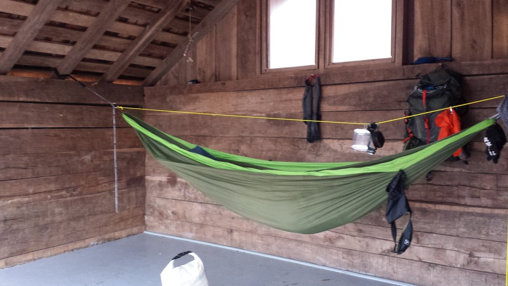 """In Vermont, Chad """"Octo"""" Haynes sets up camp in a cabin- anything can be utilized to hang a Pares!"""