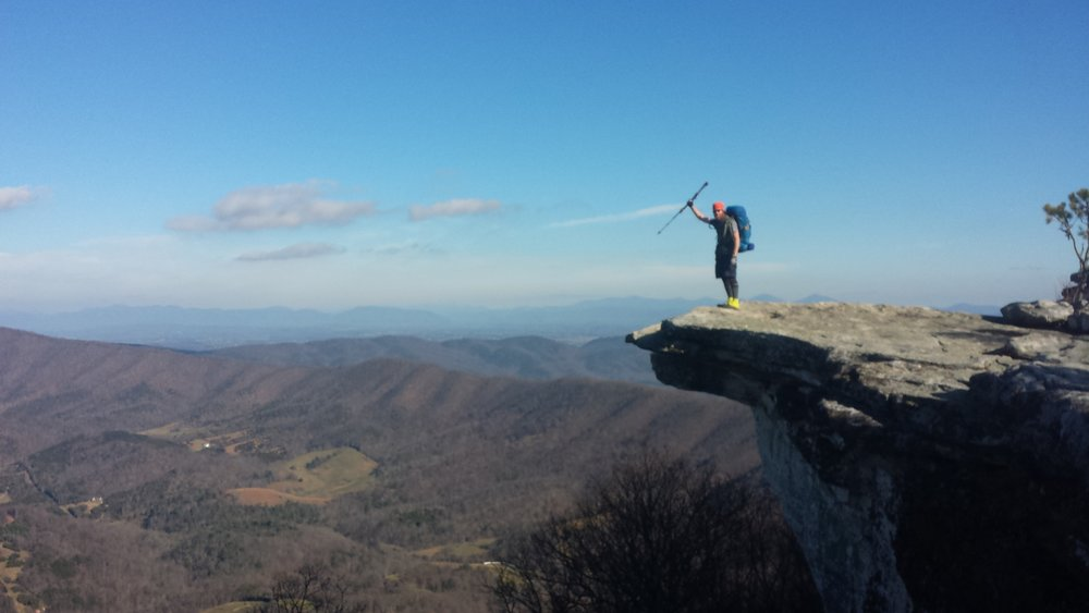 """Chad """"Octo"""" Haynes gets his photo snapped at the most photographed overlook on the trail- McAfee's Knob in Virginia."""