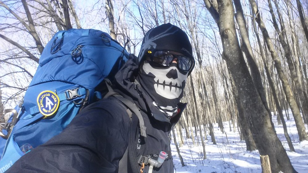 "Sometimes a beard isn't enough! Chad ""Octo"" Haynes had to don winter gear while trekking through North Carolina."