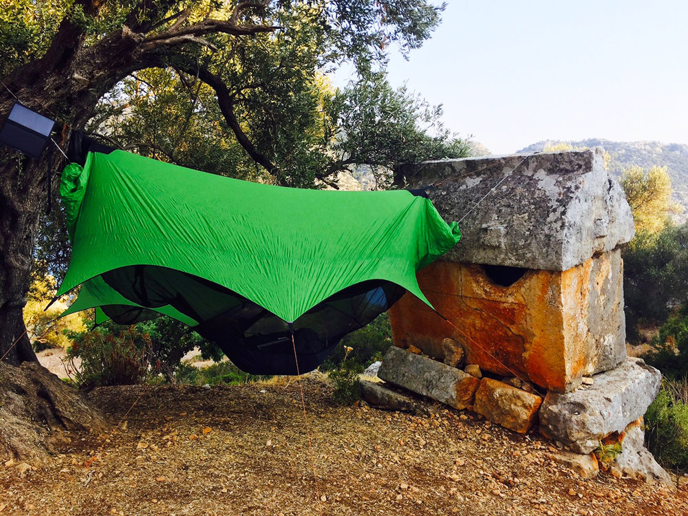 Surrounded by ancient Lycian tombs, Soner and Bekir enjoyed their first night on Lycian Way in the comfort of their Nubé systems.