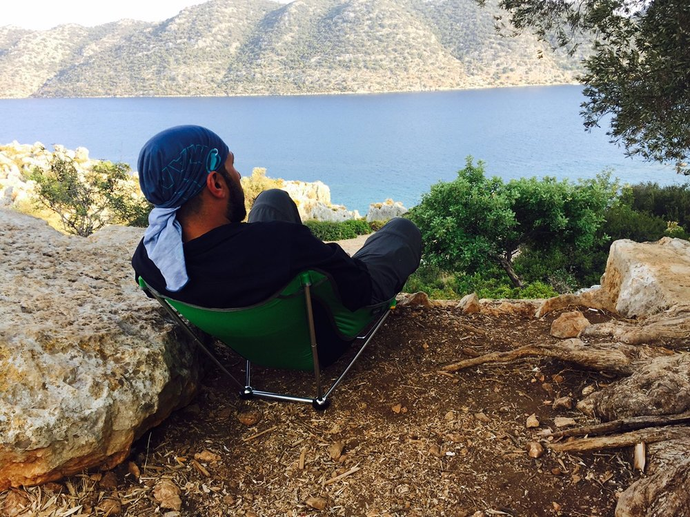 Soner enjoys the view of a river along Lycian Way.