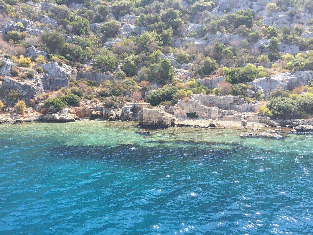 Lycian ruins seen in Pirate's Bay,along the SE coast of Turkey.