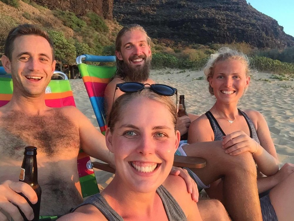 "After a mind-blowing day-hike in Waimea Canyon, ""Swedish Tom"" Evertsson and his friends enjoy some well-earned R&R on the beach."