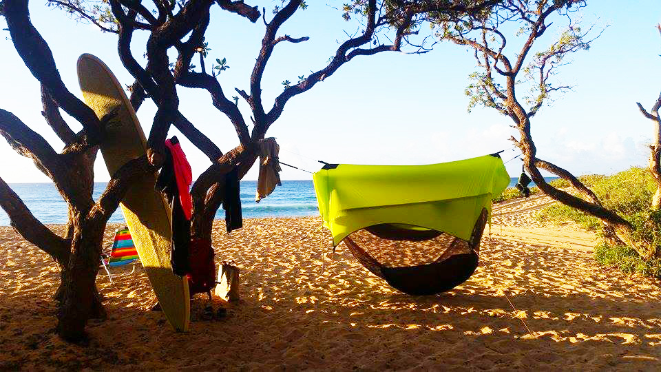"""Swedish Tom"" Evertsson and his friends enjoyed an epic day on Kauai, followed by a cozy night beach-side in their Nubé 2.0 hammock-camping shelters."
