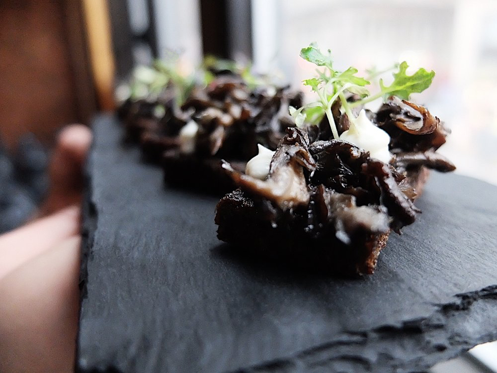 ROASTED BLACK TRUMPET MUSHROOMS | MUSTARD GREENS | CRÉME FRAÎCHE