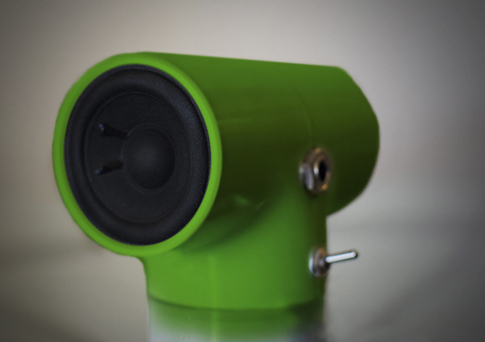 Sonic Pipe Desktop Amplifier in Electric Green.