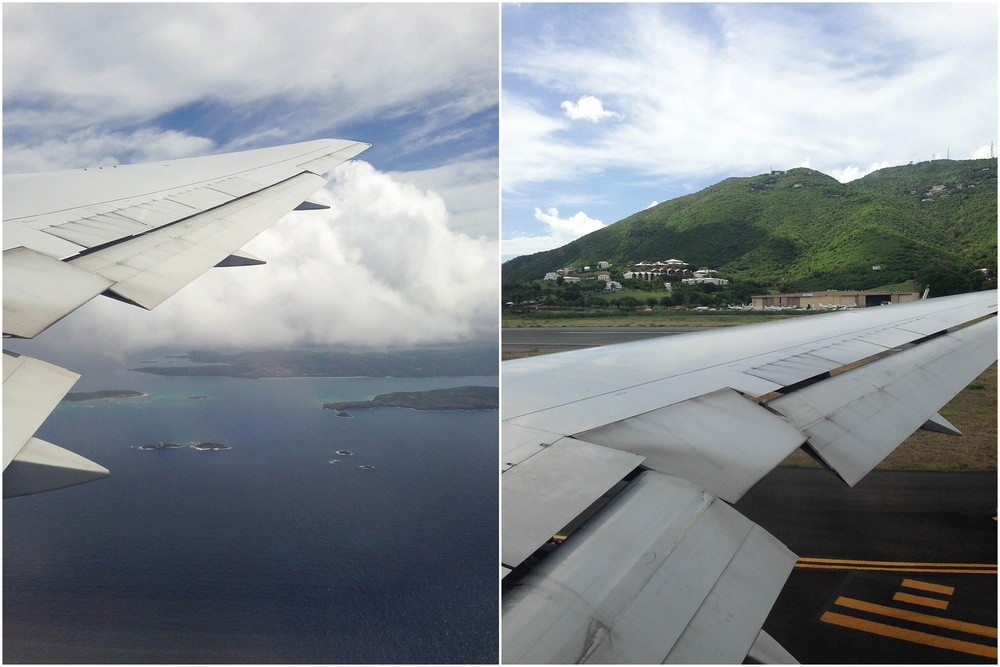 The view from my seat as we flew into St. Thomas  & as we were landing! (P.S.- I'm very thankful that I have a husband who always lets me have the window seat! :)