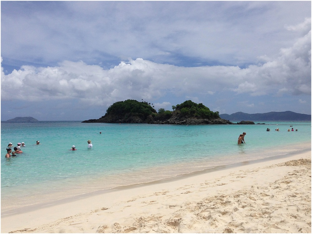 Trunk Bay! All around that island there is a snorkeling trail...this beach was much more crowded than Cinnamon Bay!  This is also a popular excursion place for people on cruises.  They dock in St. Thomas and come over to Trunk Bay on St. John for snorkeling!