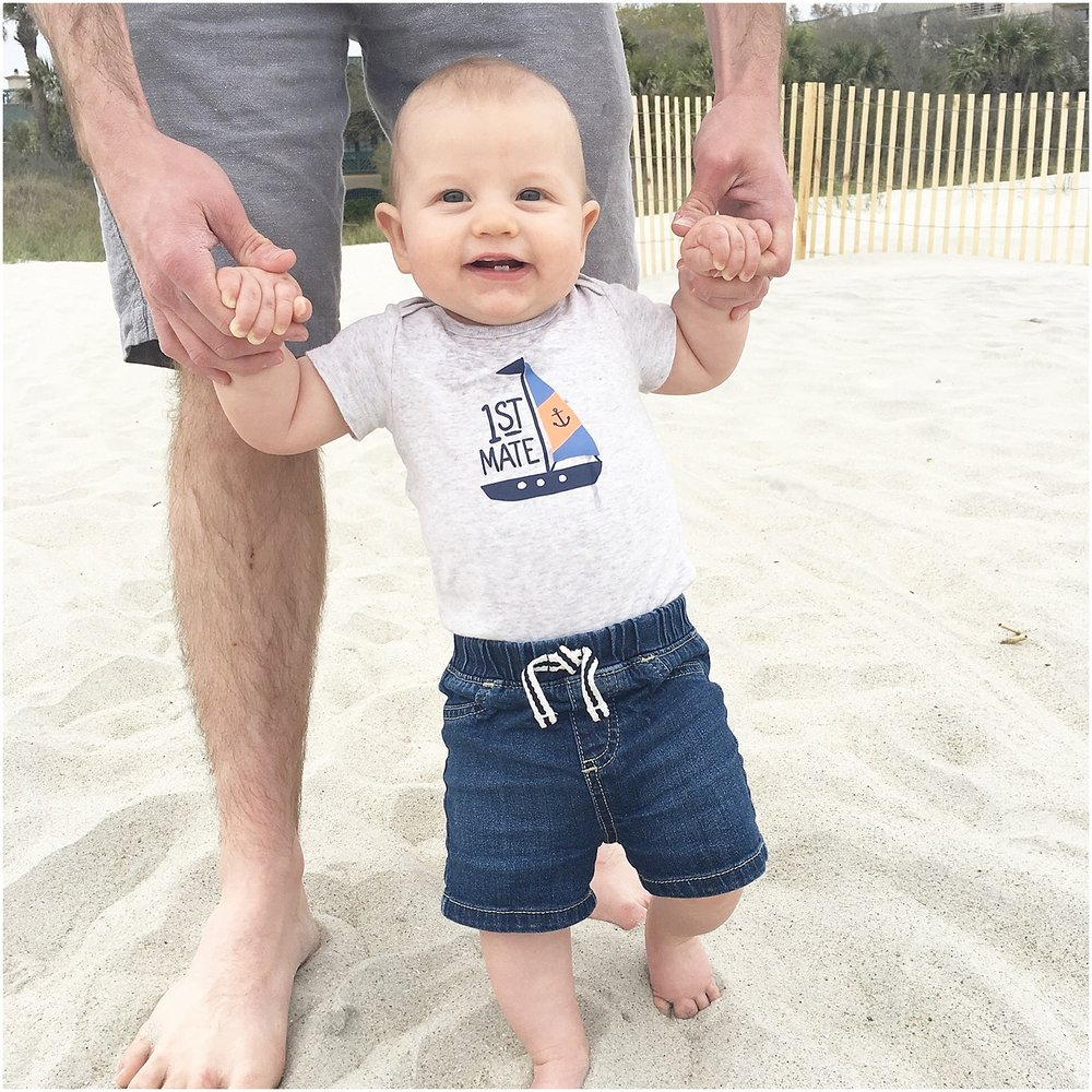 Toes touching the sand for the first time! :)