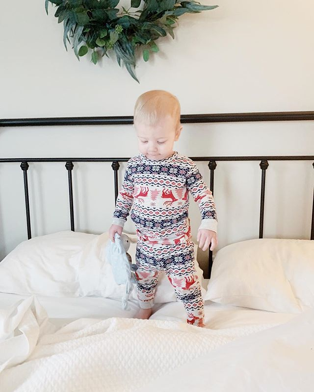 Jack in Christmas jammies is my new favorite thing 🎄😍❤️ Happy Saturday friends! #itsbeginningtolookalotlikechristmas #christmasjammies #mybabyboy