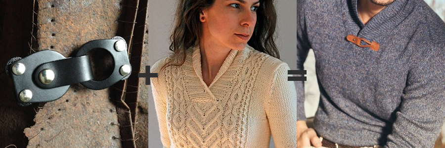Mod Loop Leather Closure  with  Tanis Lavallee's I Heart Aran Sweater