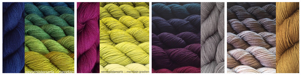 From left: (all yarn is Seven Sisters Arts Meridian) Grassroots with Mood Indigo; Chartreuse with Azalea; Raven's Wing with Nickel; Transition Metals with Mead.