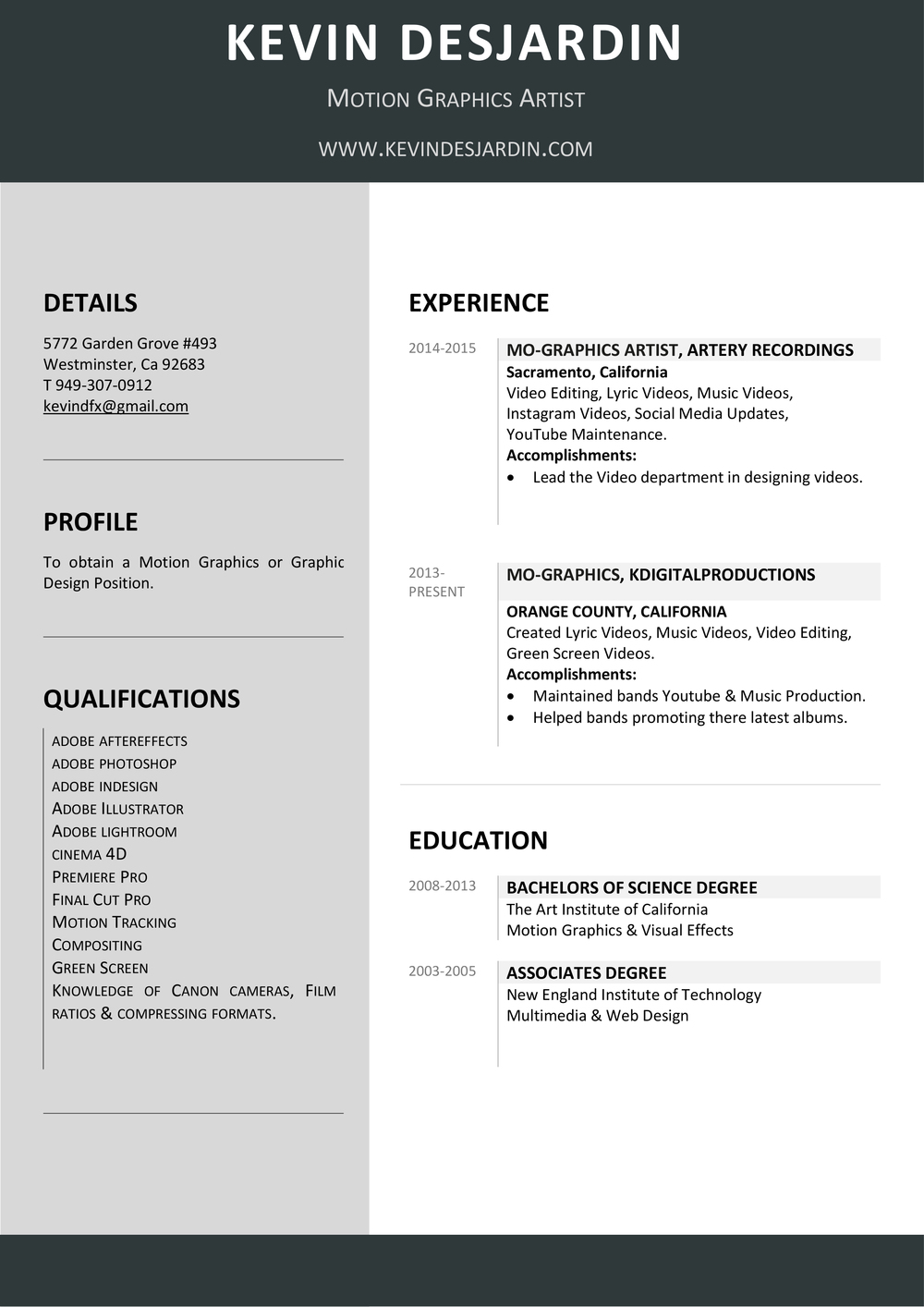 Motion Graphics Artist  Graphic Artist Resume