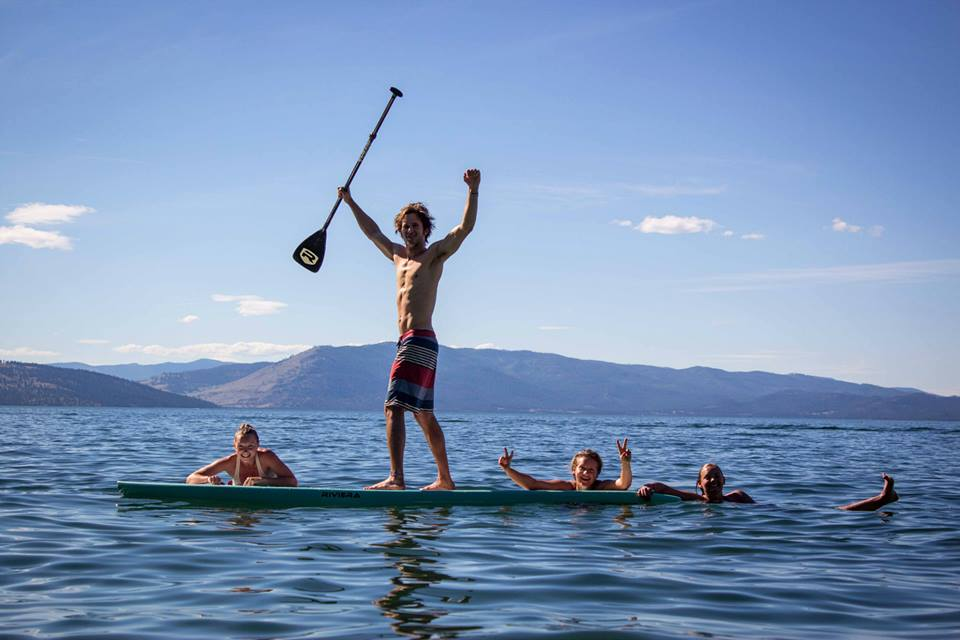 A Griz Lacrosse player enjoying Flathead Lake, MT