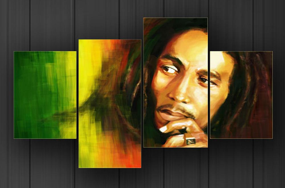 Bob Marley 4-Panel Painting: OneStop ArtShop on eBay