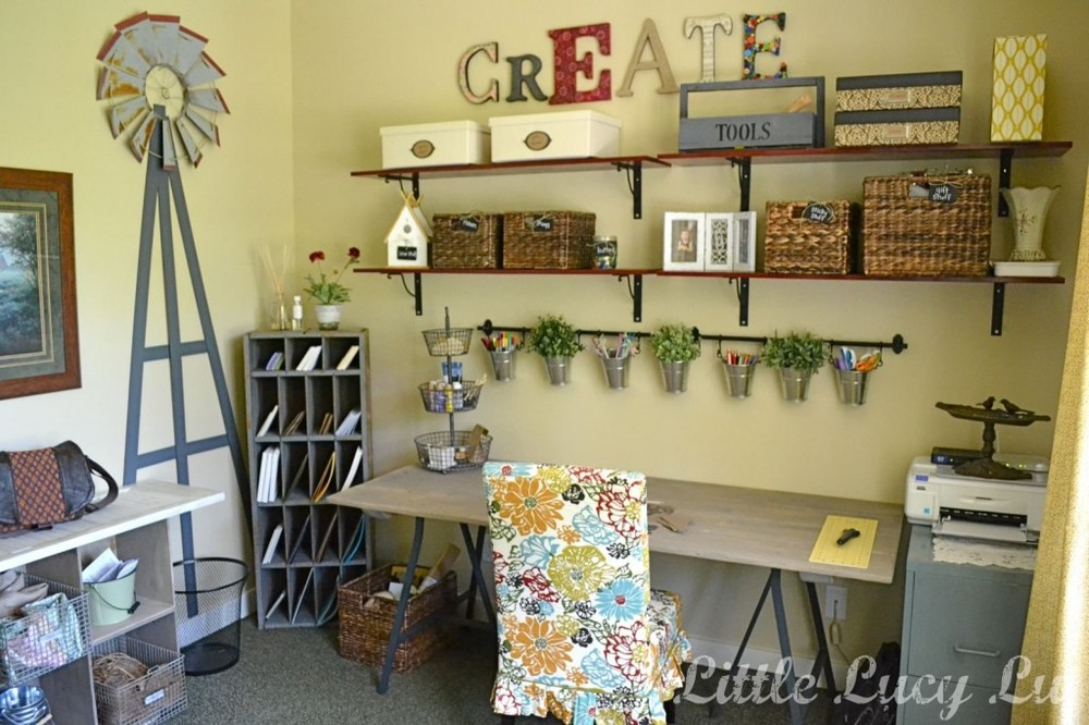 Organize your crafting space with shelves and other wall-hanging devices.