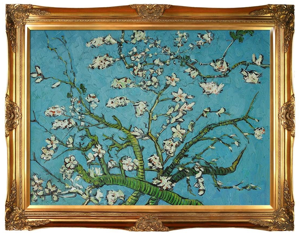 "van Gogh's ""Branches of an Almond Tree in Blossom"": whether the frame works or not is a matter of taste."