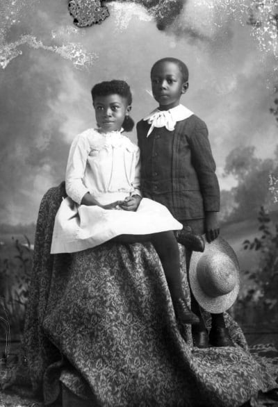 """Seated Girl and Boy Holding Hat"" photographed by Alvan S. Harper circa 1890. From  State Library & Archives of Florida"